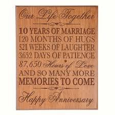 10th wedding anniversary gifts 10th wedding anniversary wall plaque gifts for 10th