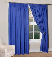 Silver And Blue Curtains One Pair Silky Blue Curtain Hanging On Silver Iron Rod For Window