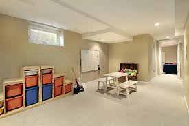 large basement area feat contemporary light grey accents wall feat