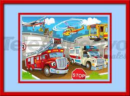Poster Kinderzimmer Kinderzimmer Wandtattoo Einsatzfahrzeuge