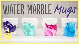 diy water marble mugs with only 2 ingredients easy gift idea