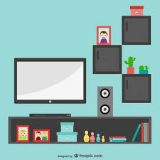 minimalist living room with tv vector free download