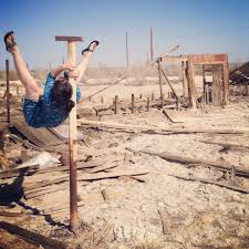 shoulder mount in the sunken trailer park at bombay beach on the