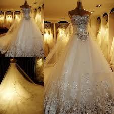 luxurious crystal diamond bling wedding dresses sparkling long