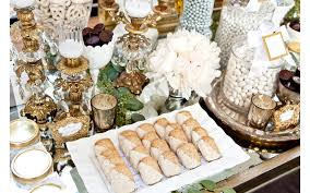 silver gold and white wedding candy table by two u0027s a party at the