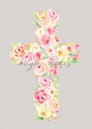 flowers cross cross made of watercolor flowers easter cross with