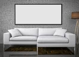 mock up poster big sofa concrete wall background 3d illustrat