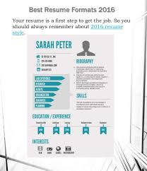 Best Resume S The Best Resume Formats 2016