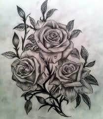 roses n gun tattoo stencil