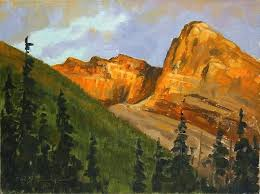 Mountain Landscape Paintings by Rocky Mountain Sunset Mountain Landscape Oil Painting