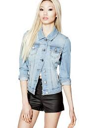 Light Denim Jacket Denim Jacket In Light Destroy Wash At Guess