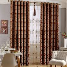 Brown Patterned Curtains European Style Embossed Floral Patterned Suede Blackout Curtains