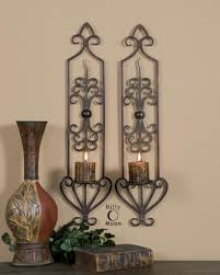 Candle Sconce Accessories Surprising Symmetric Brown Iron Large Wall Candle