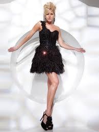 elegant black taffeta feather sweetheart neckline a line short