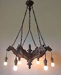 French Wooden Chandelier Antique Solid Wood Distressed Gold 6 Arm Light Hanging Ceiling