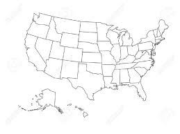 united states map black and white blank outline map of united states of america simplified vector