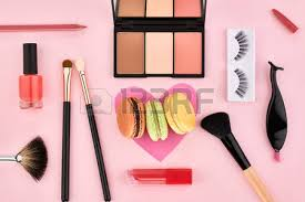makeup artist accessories overhead still fashion woman essentials cosmetics beauty