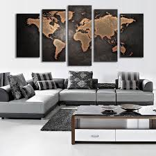 geves 5 pcs set modern abstract wall art painting world map canvas