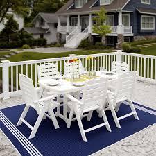 Patio Furniture Dining Set - polywood nautical high back 6 chair dining set nautical