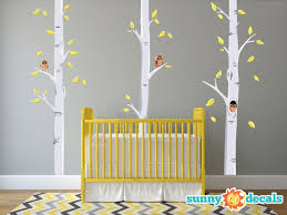 Fabric Wall Decals For Nursery Birch Trees Fabric Wall Decals With Owls And Leaves Yellow And