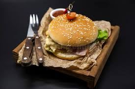 classical cuisine classical fresh burger with chicken and ham on a
