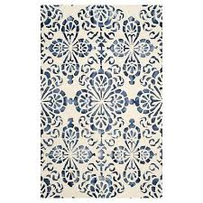Navy Area Rug Garred Ivory And Navy Area Rug
