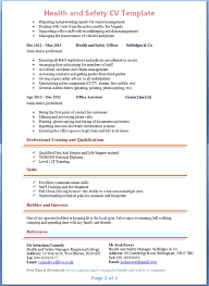 Hobbies And Interests On Resume Examples by Health And Safety Cv Template Tips And Download U2013 Cv Plaza