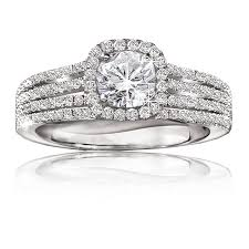 white gold halo engagement rings 1 ct halo pavé engagement ring in 14k white gold