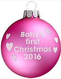 Baby S First Christmas Bauble Mamas And Papas by Pink Christmas Tree Bauble Baby U0027s First Christmas 2016 Amazon