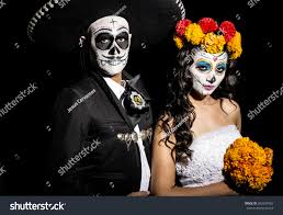 mexican halloween makeup portrait wedding couple typical mexican makeup stock photo