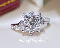 snowflake engagement ring made diamond engagement promise rings by fairyparadise