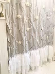 Shabby Chic Bathroom by Grey Ruffle Shower Curtain Pin Tuck Handmade Shabby Chic Bathroom