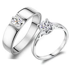 wedding rings couple images Elegant couple diamond rings personalized 925 sterling silver jpg