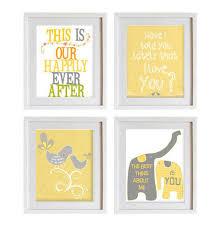 Yellow Nursery Decor Housewares Wall Decor Gray White Yellow Emotional Prints