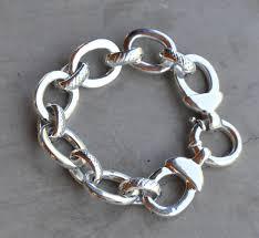 link bracelet silver images Silver chunky link electroformed bracelet 21cm jo bangles jpg