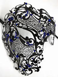 blue mardi gras blue rhinestones phantom men woman venetian masquerade metal