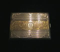 1930 u0027s sterling silver cigarette case 24kt gold inlay german