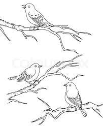 bird sitting on a branch stock vector colourbox
