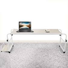 Rolling Table Desk Happybuy Overbed Table Laptop 1m Length And Height Adjustable Desk