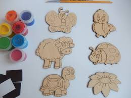 6 cutouts sheep turtle bird ladybird butterfly and
