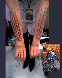 wolverine s claws temporary and arm piercings made to look like