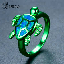 blue green opal bamos high quality vintage blue fire opal turtle ring jewelry