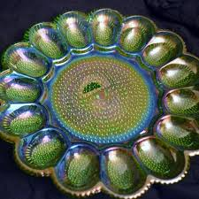 cheap deviled egg tray best hobnail green carnival glass deviled egg platter by indiana