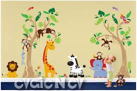 Animal Wall Decals For Nursery Jungle Safari Wall Decals Animals And Birds Tropical Heaven