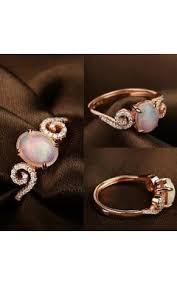 simple and adorable rose gold opal promise ring for her 100616