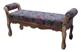 textile fabric round arm carving bench natural umaid craftorium