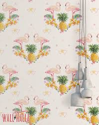 flamingo geometric pineapple wallpaper removable wallpaper