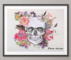 popular mexican skull wall buy cheap mexican skull wall lots from mexican sugar skull original watercolor painting canvas wall art poster print pictures room decoration wall hanging