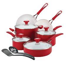 silverstone ceramic cxi 12 piece cookware set chili red 16047