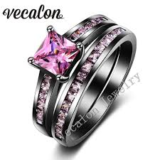 black and pink wedding ring sets vecalon women wedding band ring set pink aaaaa zircon cz